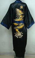 bathrobe prices - Retail Men s Silk Bathrobe Nightwear Reversible Embroidery Kimono Gown Two Face One Size Factory Price