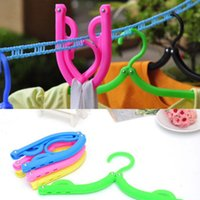 Wholesale Traveling Portable Foldable Fold Plastic Clothes Hanger Hook Drying Rack Good Quality Brand New