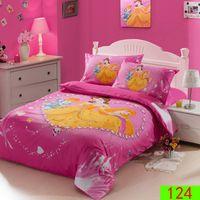 applied machines - 3pcs bedding sets cotton reactive Pink cotton linens diamond Princess anime cartoon children pillowcases apply sheets home textile