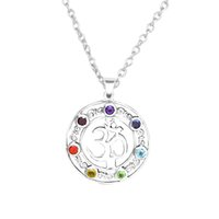 om pendant - Factory Price Metal Alloy Silver Choker Jewelry Hindu Crystal Chakra OM Yoga Charms Chain Pendant Necklace Religious Fine Jewelry
