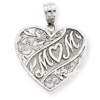 heart charm - 100pcs zinc alloy rhodium plated mom heart charms for necklace