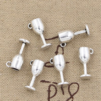 antique silver cups - 150pcs Charms wine cup mm Antique Zinc alloy pendant fit Vintage Tibetan Silver DIY for bracelet necklace