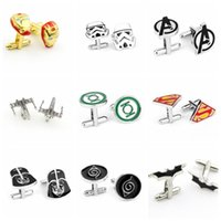 Wholesale 300PAIR LJJH894 Fashion Style Cufflink Superman Star Wars Batman spiderman Cufflinks Fathers Day Gifts For Mens Jewelry Cuff Links