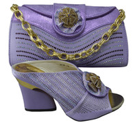 beautiful knots - Beautiful pu leather shoes matching with handbag sets for party lady African sandal and bag series GF38 purple multi color