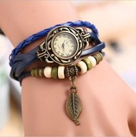 Wholesale 6 Colors Original High Quality Women Genuine Leather Vine Watches Bracelet Wristwatches butterfly or leaf Pendant SB