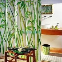 Wholesale Green Bamboo Natural Landscape Design Bathroom Shower Curtain Fabric Hooks