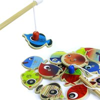 Wholesale Wooden Children Fishing Toys Fishes Magnetic Fishing Rods Baby Fishing Game Children Educational Toy Baby Toy Years