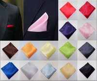 Wholesale 14pcs Solid Polyester Noble Man s Satin Pocket Square Handkerchief Fashion Wedding Party Prom Ornaments Hot Sale