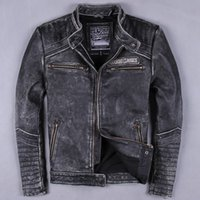 Wholesale for Back embroidery Harley leather jacket male stand up collar Slim leather first layer of leather short coat Korean we