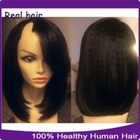banking machines - 1 Right Opening U Part Wigs Short Peruvian U Part Wigs For Black Women Kinky Straight Upart Human Hair Bob Wig For Sale