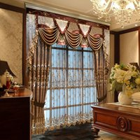 Wholesale 2016 New Luxury European Style Curtain High Grade Embroidered Cloth Soluble Hem Tulle Jacquard Curtain Living Room Window Hot Sale A012
