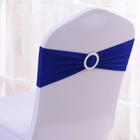 Wholesale Hot Sale Royal Blue Spandex Bands Lycra Band Chair Covers Sash With Round Buckle Wedding Banquet CB RB100