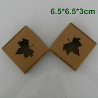 Wholesale 6 cm Kraft Paper Packaging Box Wedding Party Gift Packing Box With MAPLE LEAF Window For DIY Handmade Soap Jewelry Chocolate Candy