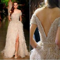 Cheap All feathers Beads A line fashion dress sexy strapless halter-side heat 2016 stunning evening dress party dress split
