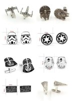 Wholesale 300pairs fashion designs star Wars Cufflinks Cuff Links Cartoon Jedi Knight Darth Vader Novelty Cufflinks Jewelry Cuff Links D526