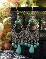 Wholesale ER330 Gypsy Tibetan Silver Vintage Retro Drop Dangle Turquoise Earrings Fashion Jewelry Christmas Gift