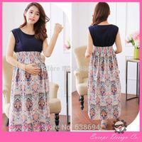 Wholesale Summer Dress Clothes For Pregnant Women Maternity Clothing Pregnancy Women Chiffon Flower Printed Dresses Plus Size Dress
