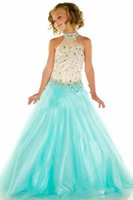 girls pageant dresses size 12 - 2015 New Girls Pageant Dresses High Neck Nude Top Aqua Black Crystal Beaded Long Tulle Princess Size Party Children Flower Girl Gowns