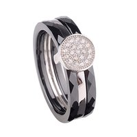 Wholesale Polished with CZ Diamond Embedded White Gold Electroplated Ring Nano Ceramic S925 Sterling Silver Ring Fashion Jewelry Ring
