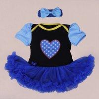 bebe dress blue - Hot Selling Baby Girl Romper Cotton Short Sleeve First Walk Blue Color Jumpsuit Tutu Dress Newborn Clothes Bebe Costumes