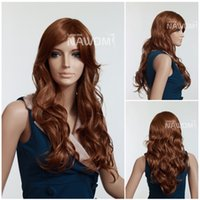 Cheap Cheap fluffy wigs light brown wavy wigs synthetic 100% Kanekalon cheap wigs online sales + Free wig cap Free Shipping