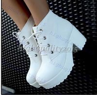 Wholesale Hot Sale Locomotive boots Martin boots platform shoes short boots Women Chunky Heel Ankle Boots Knight Boots