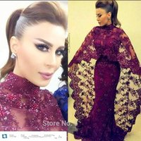 muslim art - Abaya In Dubai Dark Purple Lace Applique Beaded Evening Dresses Mermaid Muslim Arabic High Neck Prom Dress Floor Length Kaftan Dress