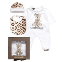 Animal Feed - 2015 Brand Baby Rompers New Baby Footies Cavalli Leopard Infant One Piece Body Suit Hat Cap Feeding Bibs Newborn Jumpsuits