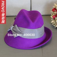 free shipping paypal - winter purple wool felted fedora hats for women chapeau feminino panama hats accept paypal
