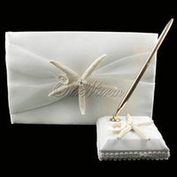 Wholesale 2Pcs set New Style Starfish Satin Wedding Ceremony Guest Book Pen Set Bridal Decoration Product Supplies HXZ