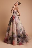 Wholesale Graceful A Line Prom Dresses Colorful Floral Prints Bones Sweetheart Neck Sleeveless Zipper Back Sweep Train Christmas Party Gowns Customize