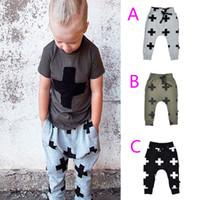 Unisex animal crossing clothing - Retail kikikids NUNUNU children harem pants spring autumn baby clothes cross printed kids pants for girls boys clothing HX