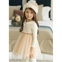 authentic american clothing - Baby hight quality clothes Autumn winter girls v long sleeve authentic dress fur collar Korean girls lace princess dress