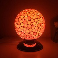 decorative mosaic pattern - Ball heart shaped pattern glass mosaic crafts table lamp fashion home decorative lamp bedroom night light to send light