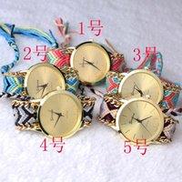 Precio de Gifts-Señora trenzada hecha a mano pulsera GINEBRA mano tejida reloj de señoras Quarzt Relojes del regalo de Navidad # 71213