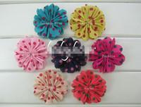 ballerina headbands - 2015 Spring new quot Scalloped Chiffon Ballerina Flower Chiffon Silk Dot Hair Flowers For Girls Headband Hair Accessories