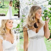 Wholesale 2015 Designer Summer Beach Wedding Dresses Vintage Cap Sleeves Beads Crystals Bridal Gowns Sexy Backless Lace Modest Wedding Gowns