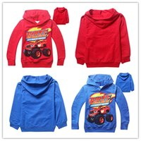 Wholesale 2015 new spring and autumn boy hoodies Blaze Monster Machines children long sleeve hoodies kids cartoon cotton hoodies two color