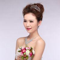 fashion beaded earrings - 2015 Pearls Beaded Crowns Hair Accessories Fashion Wedding Bridal Crystal Rhinestone Headband Tiara Necklace Earrings Jewelry Sets Elegant