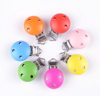 Wholesale Metal Mixed Color Suspender Trousers Pacifier Clips With Plastic Wood Craft Sewing Tool x30mm D2986