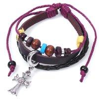 american quality assurance - Quality Assurance Religious Cross Bracelet Snap Jewelry Leather Bracelets for Women Multilayer Infinity Black Charm Bracelet for Men