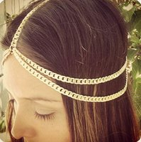aqua chain - New Hot Stylish Women Boho Thick Style Metal Head Chain Headband Headpiece Hair Band tocados para boda Jewelry