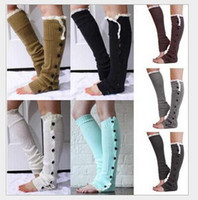 Wholesale 2014 christmas leg warmer womens boot socks thigh socks stocking foot socks lace button Leggings foot cover socks knee high socks colours