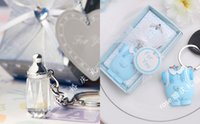 baby keychain favors - Clear Glass Feeder Bottle Keychain Favors AND Blue Baby Cloth Wedding Supplies Cute Gifts For Wedding