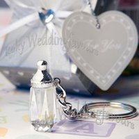 Favor Boxes baby boy ideas - DHL Crystal Baby Bottle Keychain Baby Shower Great Party Favors Ideas Party Supplies Party Decoration