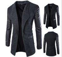 Wholesale The new trade leather sleeves slim wool men long windbreaker jacket
