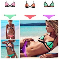 Cheap 2015 brand new spell color swimwear triangle bikini swimwear fabric gauze free shipping 888