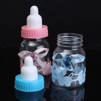 baby shower fillable - New Fillable Bottles Bear For Baby Shower Favors Blue Pink Full Month Party Decoration Plastic Cute Candy Box x4cm