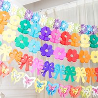 Wholesale Butterfly Flower Wedding Party Flowers Banners Scroll Color Birthday Gift Beautiful Hanging Flags Scroll Garland Festive Party Supplies