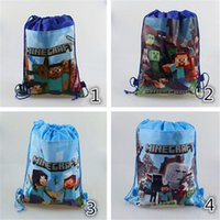 Wholesale 100pcs New Creeper JJ Craft Bag minecraft designs string backpack for kids school bag best quality for gift D333
